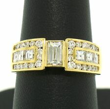 18k Solid Yellow Gold 1.34ctw Emerald Asscher Round Cut E VVS2 Diamond Band Ring