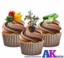 Green House Plants Allotment Birthday 12 Cup Cake Toppers Edible Decorations