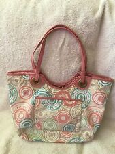 Authentic Coach Snaphead Print Tote Purse Beach Colors Multicolor 19184