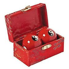 Chinese Baoding Cloisonne Red Yin Yang Health Balls Stress Therapy Musical Hand