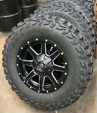"17"" D538 Fuel Maverick Black Wheels 33"" MT Tires Package 6 lug Chevy GMC Ford"
