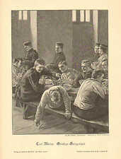 Military School, Cadets, Mess Hall, Humor, Vintage 1893 German Antique Art Print