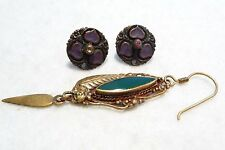 Lot of 3 Vintage Art Nouveau Earrings-Single Handmade Drop & 2 Matching Earrings