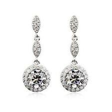 Bridal Classic Round and 925 Sterling Silver Cubic Zirconia Dangle Long Earrings