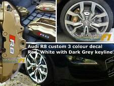 Brake decal sticker 3 colour to fit Audi R8 Red sqaure D Grey Key White txt x2