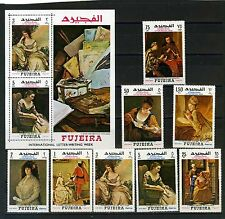 FUJEIRA 1968 Mi#276-283A, Bl.C9A PAINTINGS SET OF 8 STA