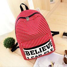 Girl Women Canvas Satchel Shoulder Bag Travel Backpack Striped School Rucksack