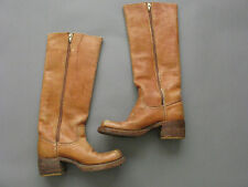 FRYE VINTAGE BANANA TAN LEATHER CAMPUS BOOTS INSIDE ZIP SIZE US 5 BLACK LABEL