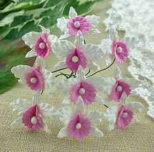 5 x ORCHIDS - WHITE & PINK - Mulberry Paper Flowers for Cardmaking and Crafts