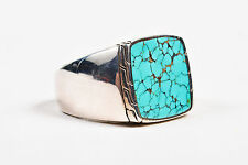 """MENS John Hardy NWT $495 Sterling Silver Turquoise """"Signet"""" Ring SZ 10"""