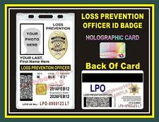 LOSS PREVENTION OFFICER ID Badge/ Card    CUSTOM With Your Photo & Info    LPO