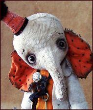 by Alla Bears artist Old Antique Vintage Elephant  art doll Halloween toy decor