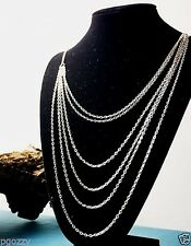 "womens 6 layer stainless steel long chain necklace 16"" thru 32"" long"