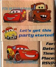 Cars Party ~ 4 pce Disney Pixar Wood Mount Rubber Stamp Set #47571 Maqueen Mater
