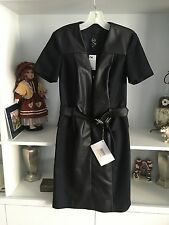 MQ Alexander McQueen $495 Black Faux Leather & Fabric Belted Dress !