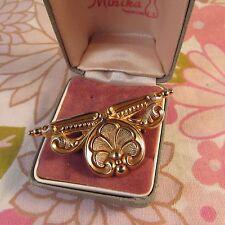 Vintage 1950s Pressed Goldtone Metal Art Nouveau Floral Design Brooch Pin