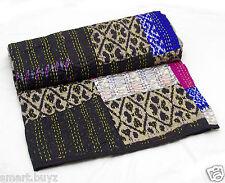 SILK Patchwork Indiano Fatto a Mano Trapunta Kantha Coperta Copriletto Biancheria da letto gudri UK 4