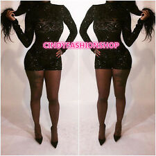 New Women Long Sleeve  Geometric Sequin Outfits Playsuit jumpsuit Short Rompers
