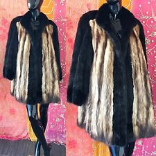 Vintage Evans Furs Mink Jacket Black Mink Fox Burdines Coat