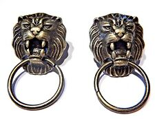 BRONZE LION DOOR KNOCKER EARRINGS classic cat head face ring stud steampunk V2