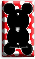 MICKEY MOUSE EARS POLKA DOTS PHONE TELEPHONE WALL PLATE COVER BABY NURSERY ROOM