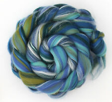 Merino Wool & Silk Fibre Blend - Seascape -  100g Hand spinning Yarn or Felting