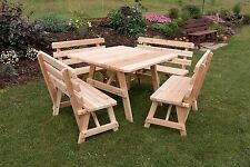 "43"" Square Picnic Table with 4 Backed Benches *8 Paint Options* Amish Made USA"