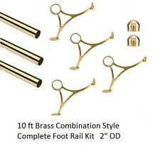 10 FT.  BRASS BAR FOOT RAIL KIT FOR HOME BAR-BRASS TUBE RAILING-Mirror Finish
