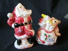 Christmas SANTA AND TOY PACK  SALT AND PEPPER SHAKERS By Fitz and Floyd