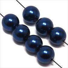 30 perles Nacrées 8mm Bleu Roi verre de Bohème