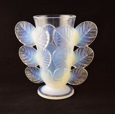 FRANCE SEVRES GLASS VASE ROSE LEAVES by PIERRE D'AVESN