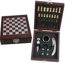 RTA Vintage Wooden Chess Board Game with Wine Gift Set 36 Pieces. + Foil Cutter