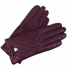 COACH Womens Bow Gloves Sherry Plum Purple Quilted Cashmere Lined F83722 Sz 6.5