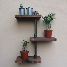 URBAN INDUSTRIAL RUSTIC WALL MOUNT IRON PIPE 3 TIERS WOOD SHELF STORAGE SHELVING