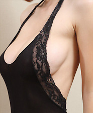 Sexy Lace Halterneck Backless Sheer Open Crotch Bodystocking Lingerie Size 6-12
