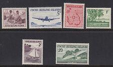 Islas Cocos (Keeling): 1963 conjunto definitivo SG 1-6 estampillada sin montar o nunca montada