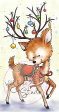 Christmas Reindeer Ornaments Unmounted Rubber Stamp Wild Rose Studio # CL421 New