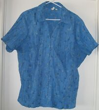 ST. JOHN'S BAY Pretty Blue Embroidered TOP  Plus size 3X