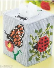**BUTTERFLIES -LADYBUGS TISSUE BOX COVER - PATTERN**PLASTIC CANVAS PATTERN**