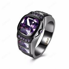 Women Watch Design Jewelry Band Ring Cubic Zirconia 18K Black Gold Plated Gift