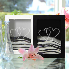 Personalized Linked Hearts Unity Sand Shadow Box & 2 Pouring Vase White or Black