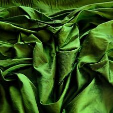 "Iridescent Fern Green Dupioni 100% Silk Fabric, 44"" Wide, By The Yard (S-178)"