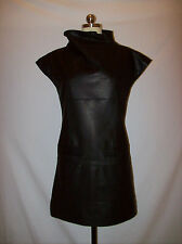 NWOT Gorgeous Marc by Marc Jacobs Black Lambskin Leather Shift Dress Sz.XS