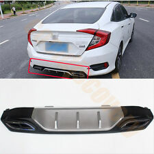 Rear Bumper Diffuser Double Decorative Exhaust Tip For Honda Civic 4Door 2016