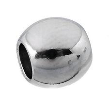 10 Edelstahl Rund Spacer Perlen Beads Glatt Silberfarbe 8mm x7mm