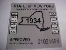 new york 1934 inspection sticker windshild model t / street rod