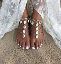 PAIR Shell Silver Barefoot Sandals Tibetan Antique Gypsy Bohemian Boho  #24