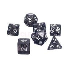 Black Multi Sided Twinkling Dice Set of 7 D4-D20 D&D RPG Game Roleplay Toy