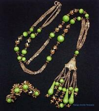 Vintage 1960s Hobe' Green Pendant Necklace & Clip Earring Set ESTATE