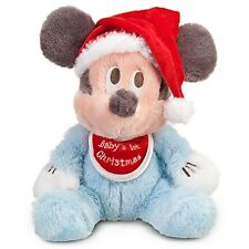 "BABY'S FIRST 1ST CHRISTMAS MICKEY MOUSE HOLIDAY PLUSH 9"" DISNEY PARKS AUTHENTIC"
